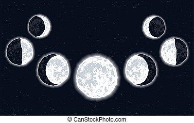 luna, sette, set, fasi