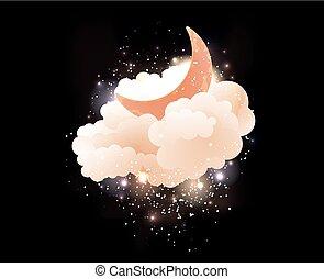 luna, stars., nubi