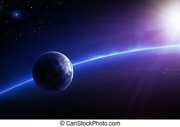 luna, terra, colorito, alba, fantasia
