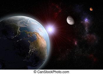 luna, terra, marte