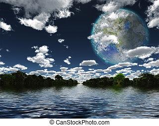 luna, terra, visto, terraformed