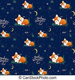 lune, night., volpe, vettore, stelle, illustrazione, buono, seamless, in pausa, modello, carino, citazione, iscrizione