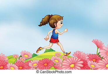 lungo, correndo, giardino, ragazza, collina