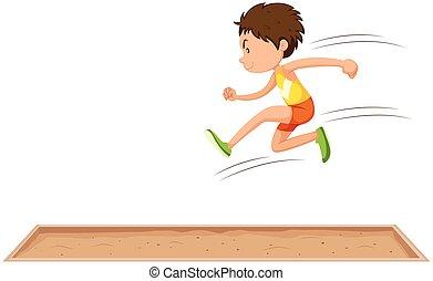 lungo, uomo, salto, atleta
