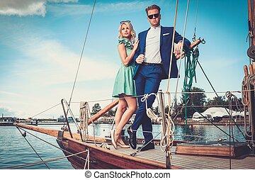 lusso, coppia, yacht, ricco, elegante