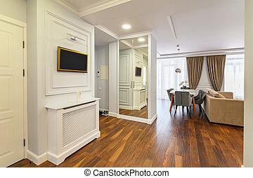 lusso, corridoio, spazioso, interno
