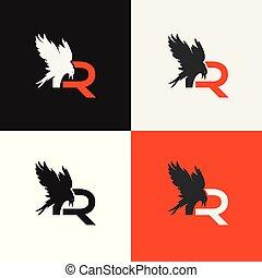 lusso, logo., alfabeto, uccello, icona, cornice, vettore, simbolo., elegante, reven