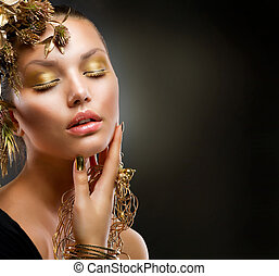 lusso, ragazza, moda, makeup., ritratto, dorato