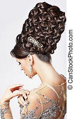 luxury., stile, moda, -, updo, tress., trendy, modello, intrecciato, voga