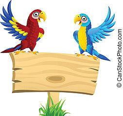 macao, vuoto, uccello, cartello