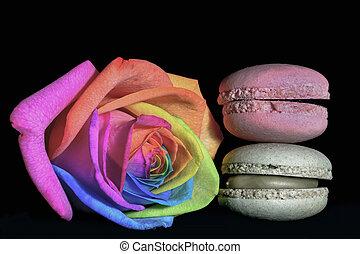 macaron, rosa, multicolor