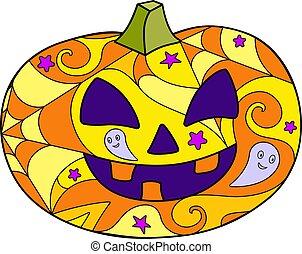 macchiato, mosaico, variopinto, vettore, illustration., lanterna, colorare, zucca, o, intagliato, vetro, batik., halloween, lineare, -, cricco, pumpkin.