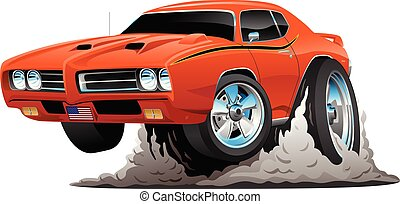 macchina classica, illustrazione, americano, vettore, muscolo, cartone animato