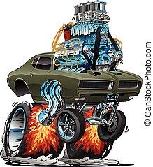 macchina classica, verga, americano, illustrazione, caldo, vettore, muscolo, cartone animato
