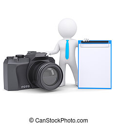 macchina fotografica, 3d, uomo