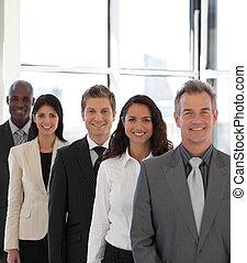 macchina fotografica, affari, felice, giovane, squadra, dall'aspetto