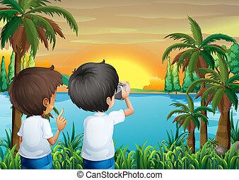 macchina fotografica, bambini, due, argine