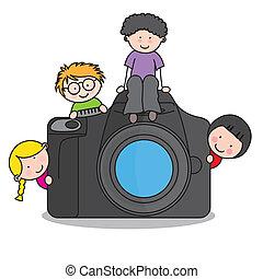 macchina fotografica, bambini