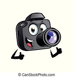 macchina fotografica, cartone animato, mascotte