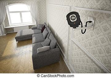 macchina fotografica cctv, livingroom