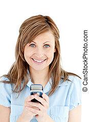 macchina fotografica, donna d'affari, texting, sorridente, positivo