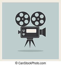 macchina fotografica film, video, retro, fondo