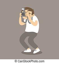 macchina fotografica., picture., vettore, fotografo, presa, cartone animato, uomo