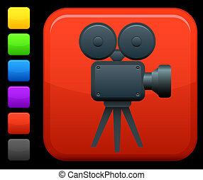 macchina fotografica, quadrato, video, icona internet, /film, bottone