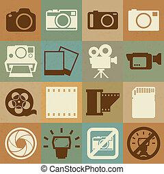 macchina fotografica, set, video, retro, icone