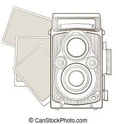 macchina fotografica vendemmia, vignette, foto
