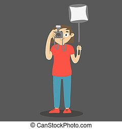 macchina fotografica., vettore, softbox, cartone animato, disegnato, box., luce, foto, carattere, presa, fotografo, mano