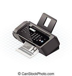 macchina, illust, isometrico, vettore, fax