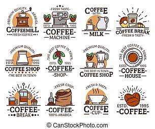 macchina, macinatore caffè, tazze, tazze espresso