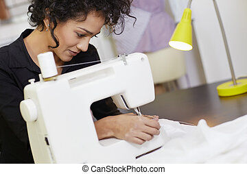 macchina, progettista, moda, cucito
