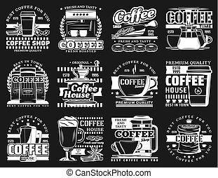 macchina, tazze caffè, espresso, latte, campanelle, fagioli