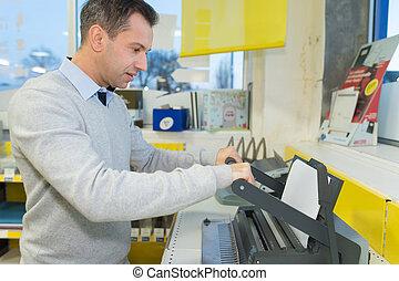 macchina, uomo, fax, usando