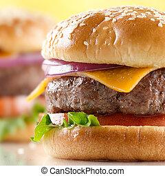 macro, cheeseburger