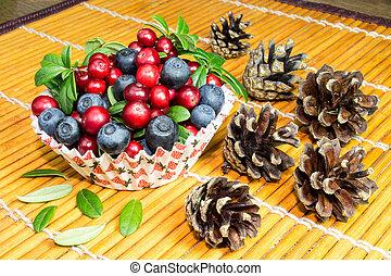 macro, immagine, fresco, cowberry, tazza
