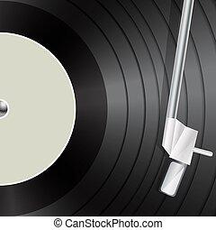 macro, musica, vinile, fondo, retro