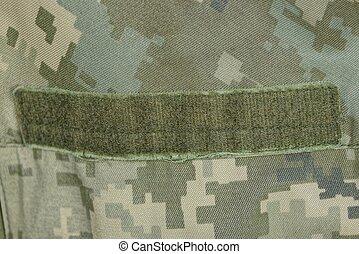 maculato, militare, abbigliamento, velcro