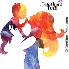 madre, baby., acquarello, lei, silhouette