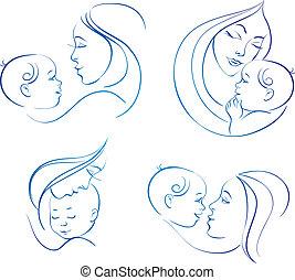 madre, baby., lineare, set, illustrazioni, silhouette