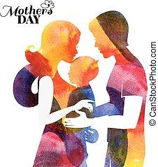 madre, bambino, husband., family., acquarello, lei, silhouette