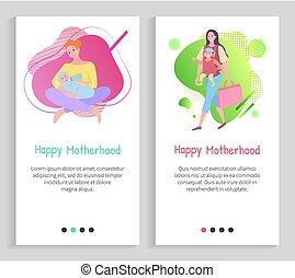 madre, famiglia, vettore, ozio, preoccupare, maternità