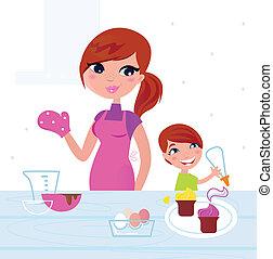 madre, felice, figlio, cottura, cucina, lei