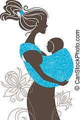 madre, fionda, bambino, silhouette, bello