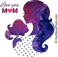 madre, madri, day., felice, scheda, silhouette, bello