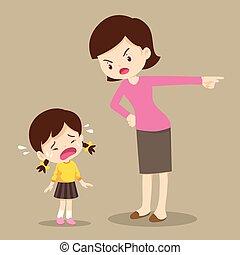madre, ragazza, triste, rimprovero, bambini