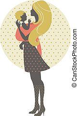 madre, retro, bambino, illustrazione, fionda, silhouette, bello