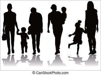 madre, silhouette, bambino